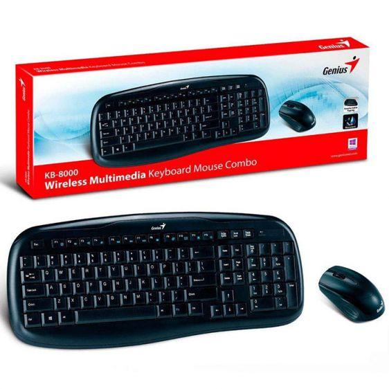 Комплект Безжични Клавиатура + Мишка Genius KB-8000X, USB, Black